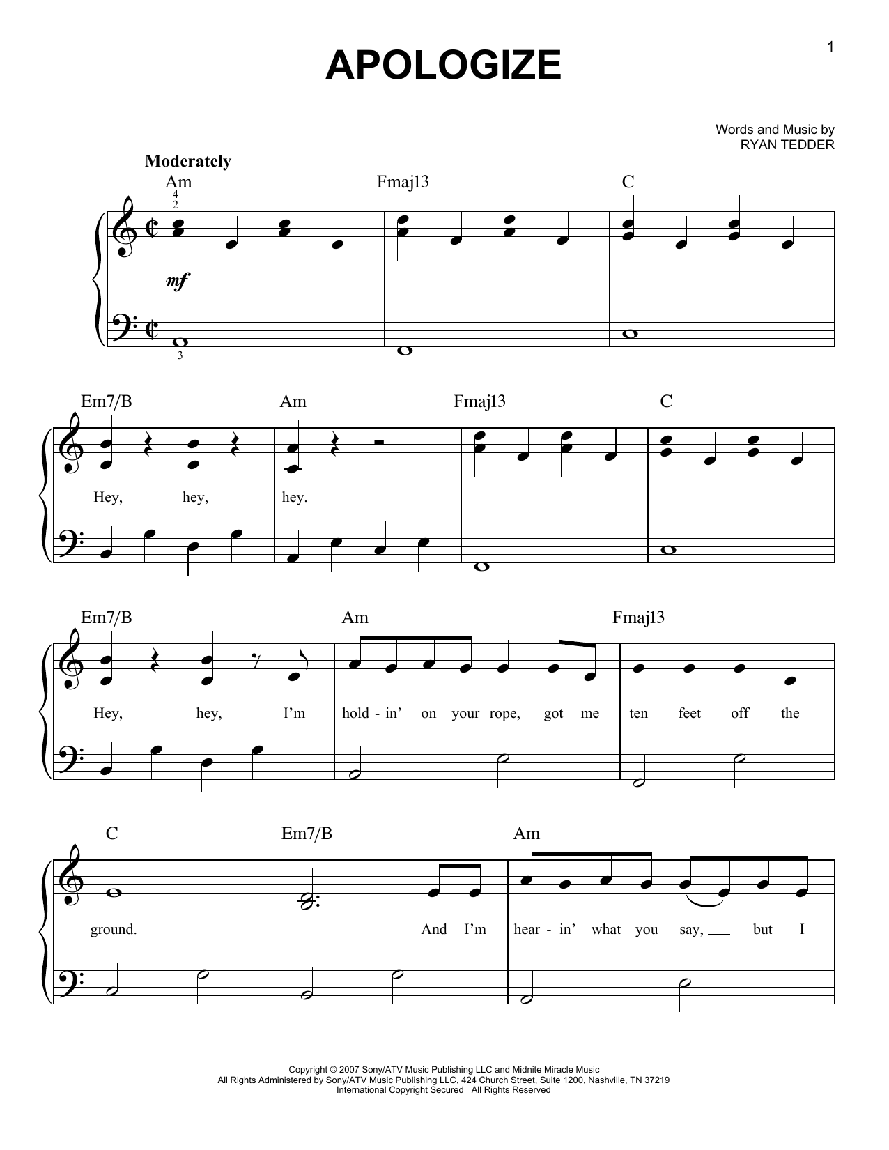 Timbaland Apologize (feat. OneRepublic) sheet music notes and chords. Download Printable PDF.