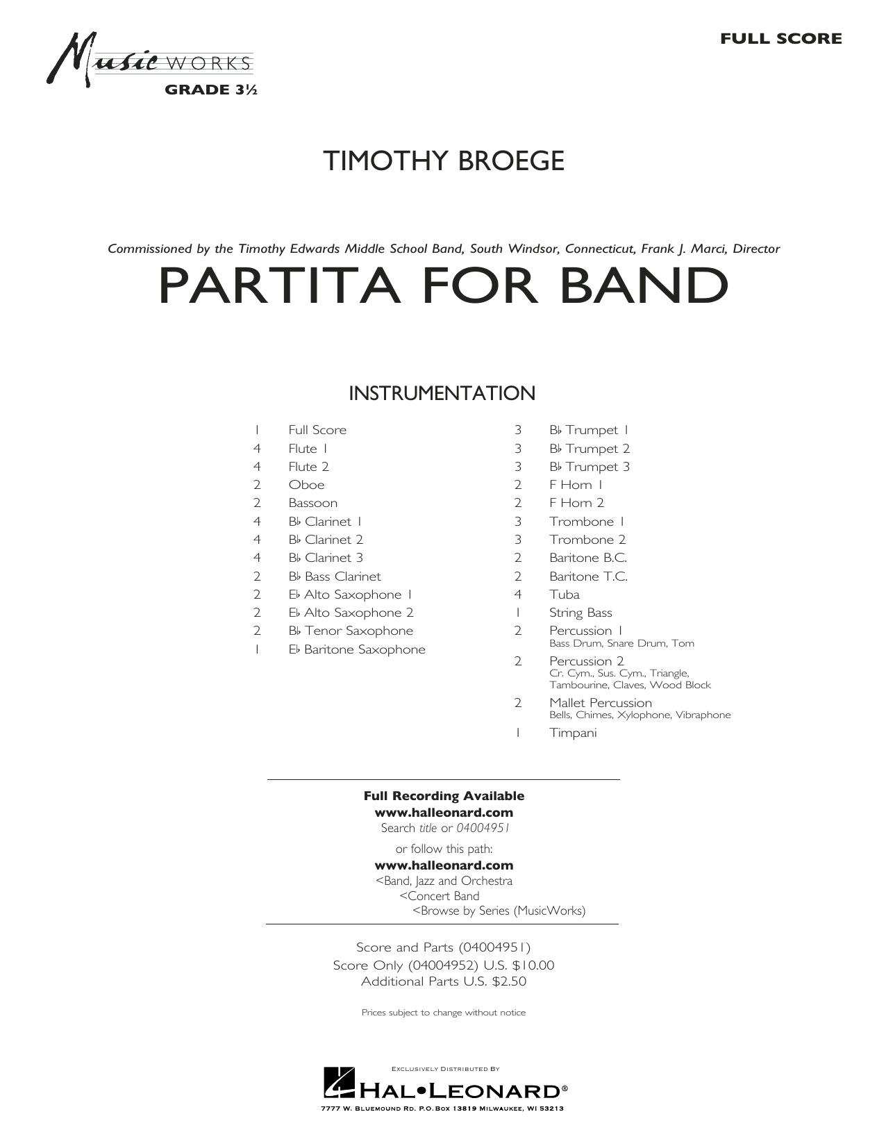 Timothy Broege Partita for Band - Conductor Score (Full Score) sheet music notes and chords. Download Printable PDF.