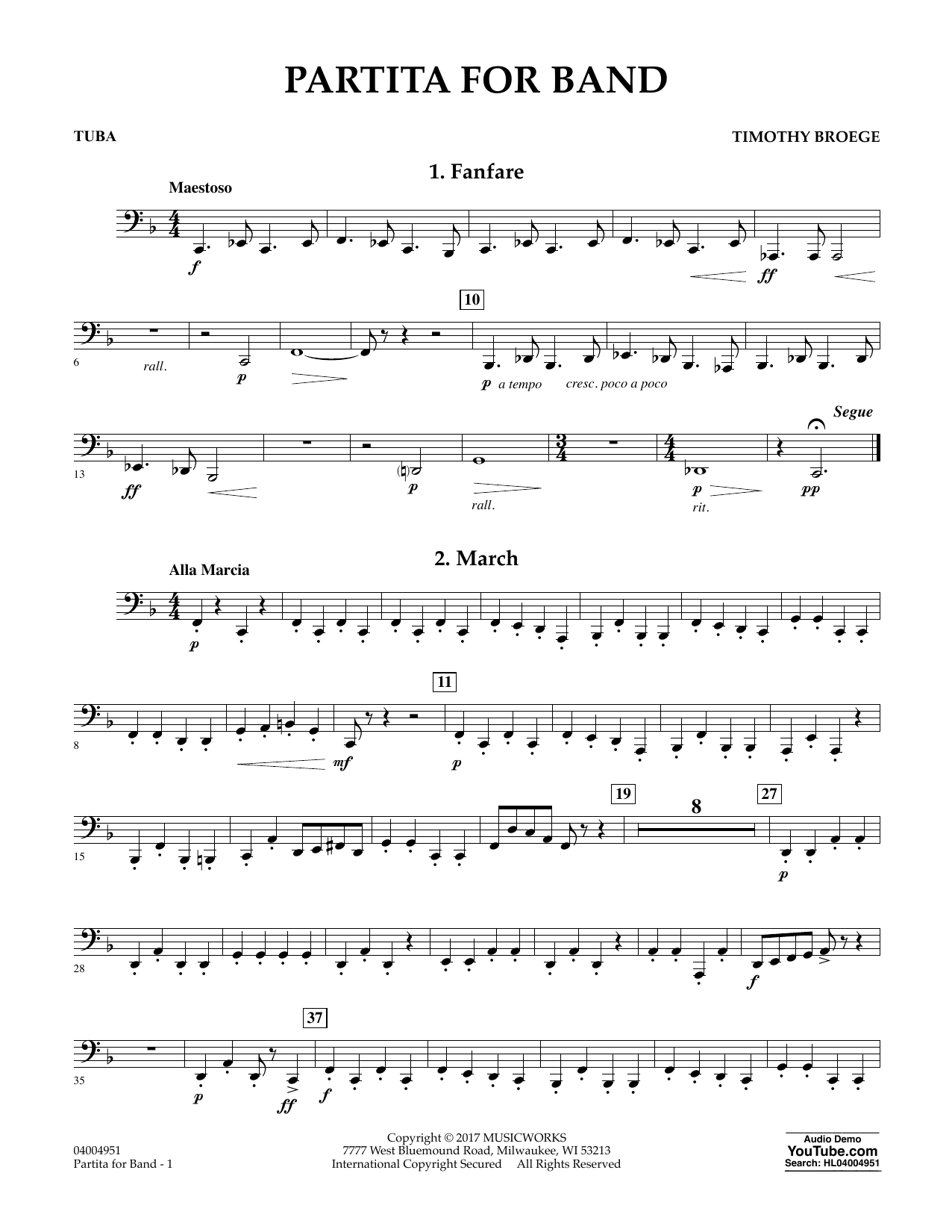 Timothy Broege Partita for Band - Tuba sheet music notes and chords. Download Printable PDF.