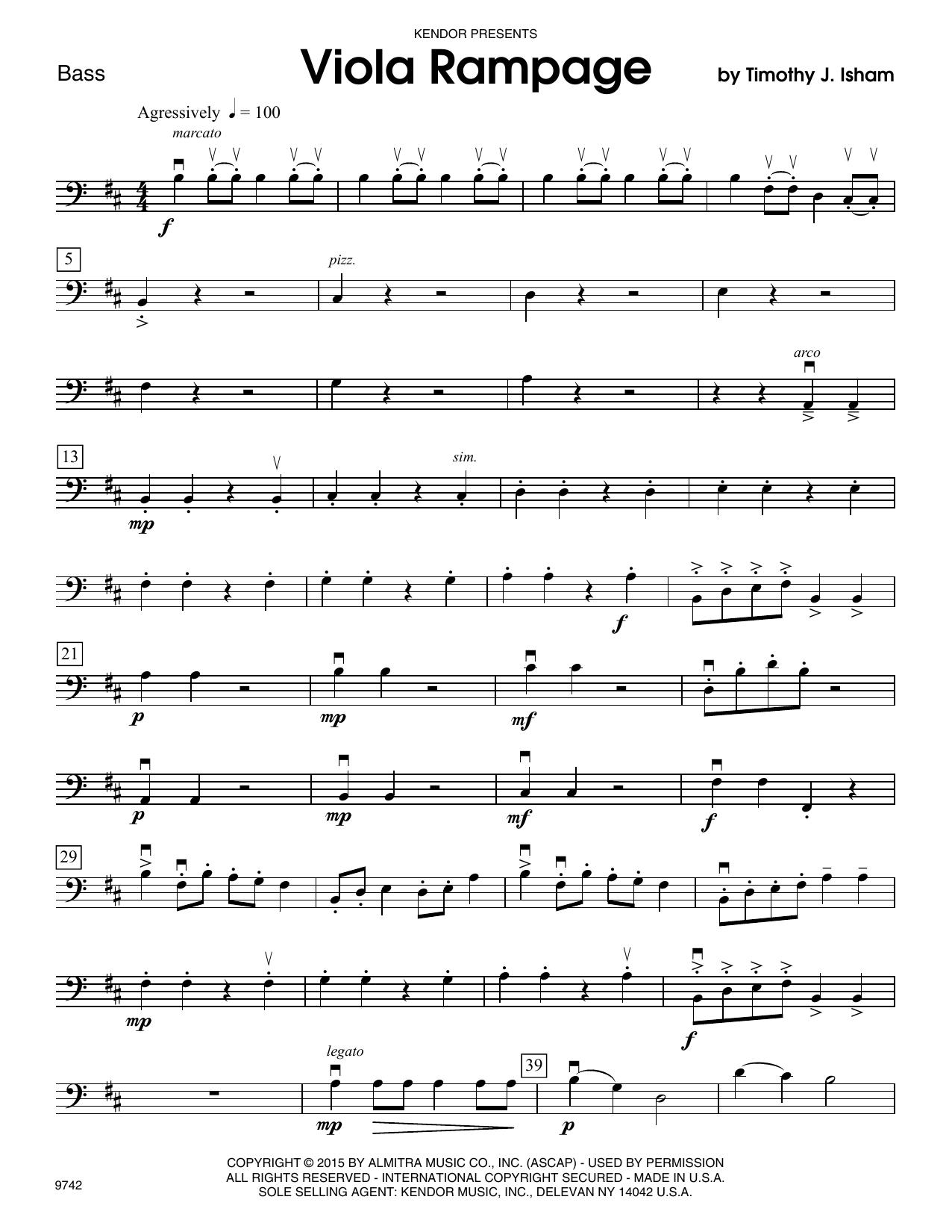 Timothy Isham Viola Rampage - Bass sheet music notes and chords. Download Printable PDF.