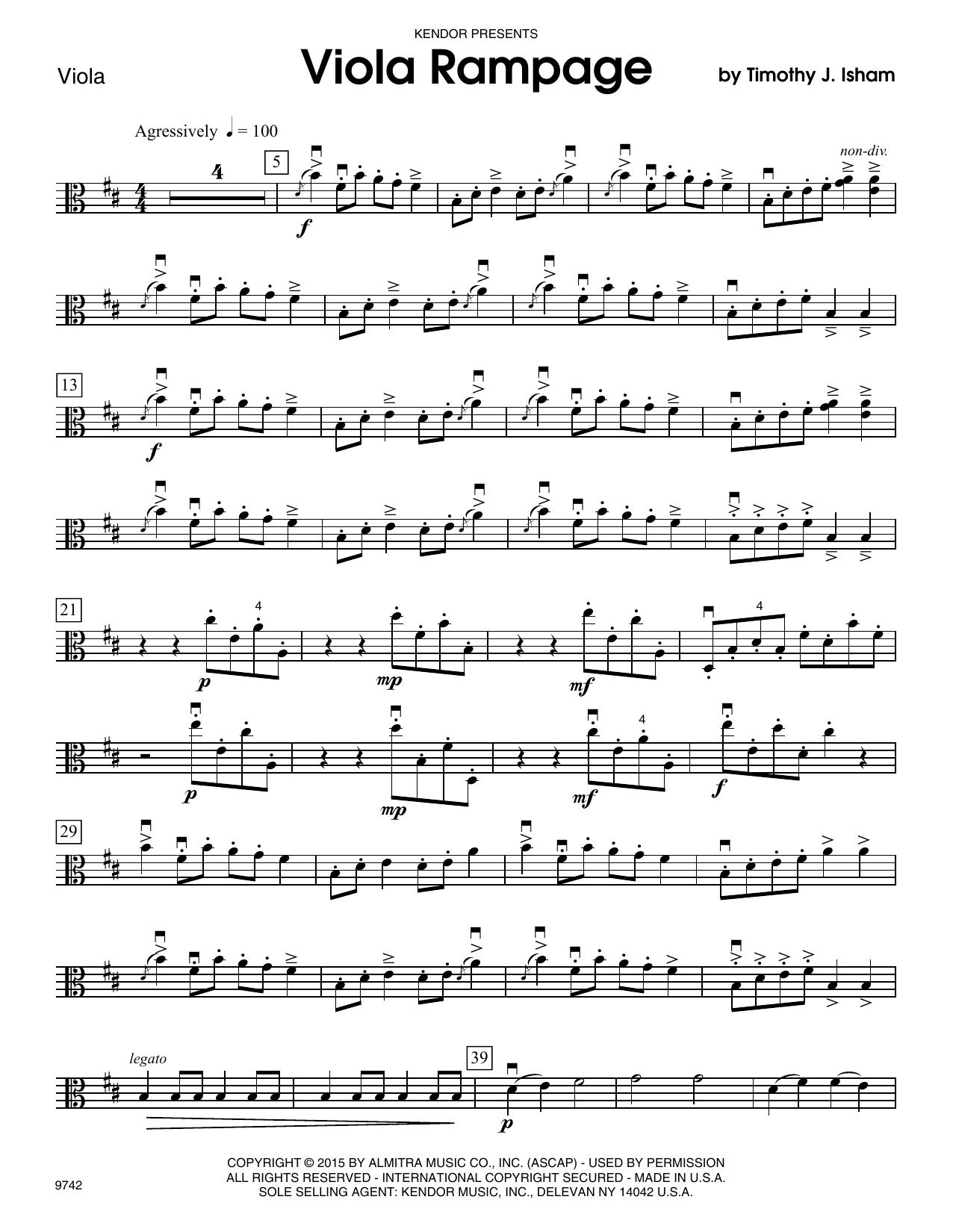 Timothy Isham Viola Rampage - Viola sheet music notes and chords. Download Printable PDF.