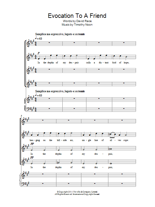 Timothy Noon Evocation To A Friend sheet music notes and chords. Download Printable PDF.