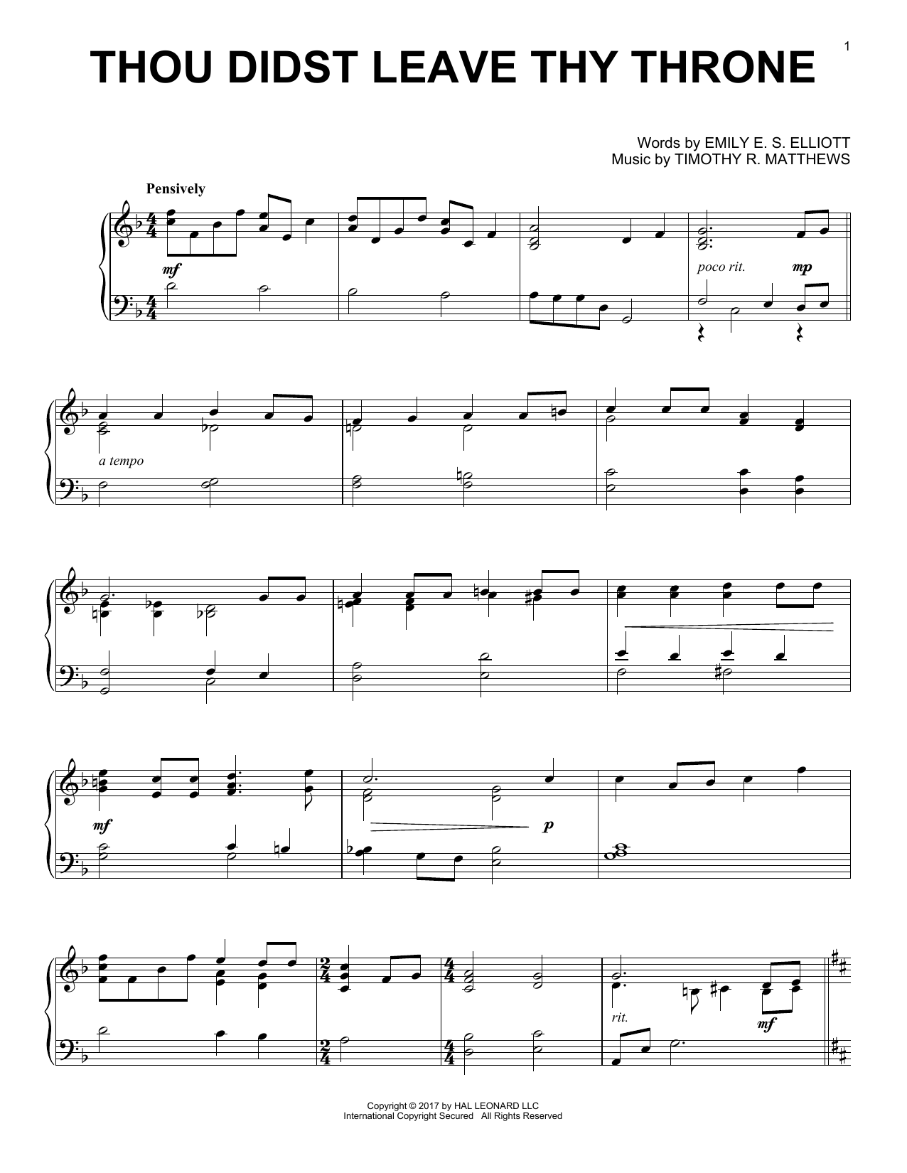 Timothy R. Matthews Thou Didst Leave Thy Throne sheet music notes and chords. Download Printable PDF.
