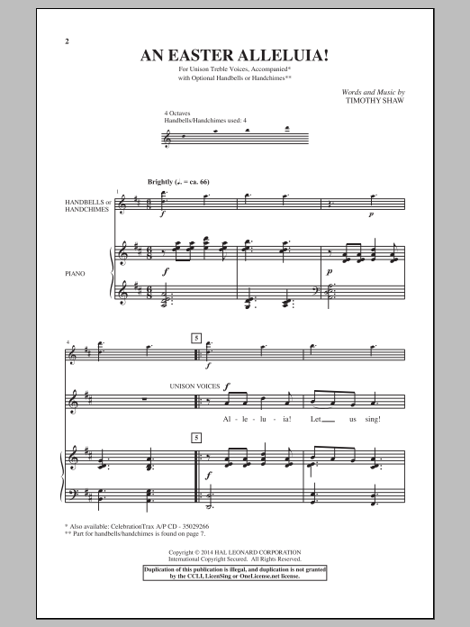 Timothy Shaw An Easter Alleluia sheet music notes and chords. Download Printable PDF.