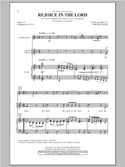 Timothy Shaw Rejoice In The Lord sheet music notes and chords