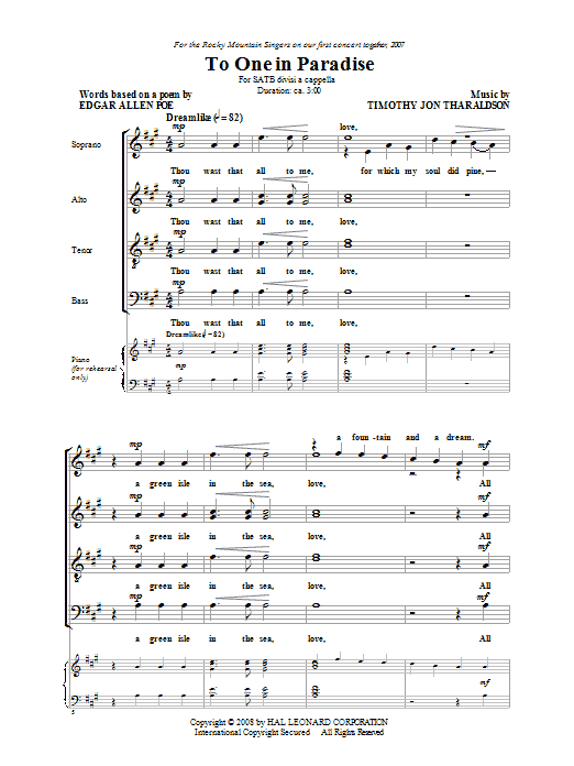 Timothy Tharaldson To One In Paradise sheet music notes and chords. Download Printable PDF.