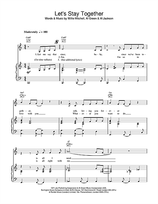 Tina Turner Let's Stay Together sheet music notes and chords