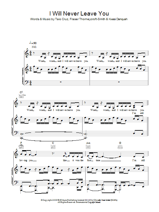 Tinchy Stryder Never Leave You (feat. Amelle) sheet music notes and chords. Download Printable PDF.