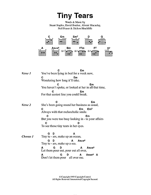 Tindersticks Tiny Tears sheet music notes and chords. Download Printable PDF.
