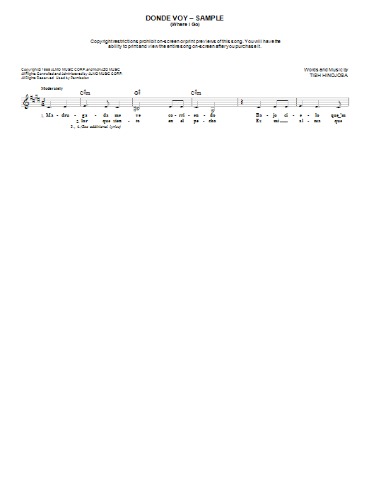 Tish Hinojosa Donde Voy (Where I Go) sheet music notes and chords. Download Printable PDF.