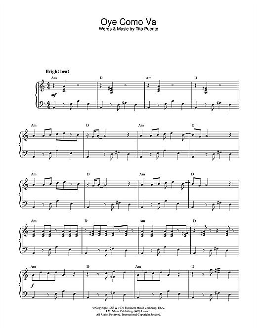 Tito Puente Oye Como Va sheet music notes and chords. Download Printable PDF.