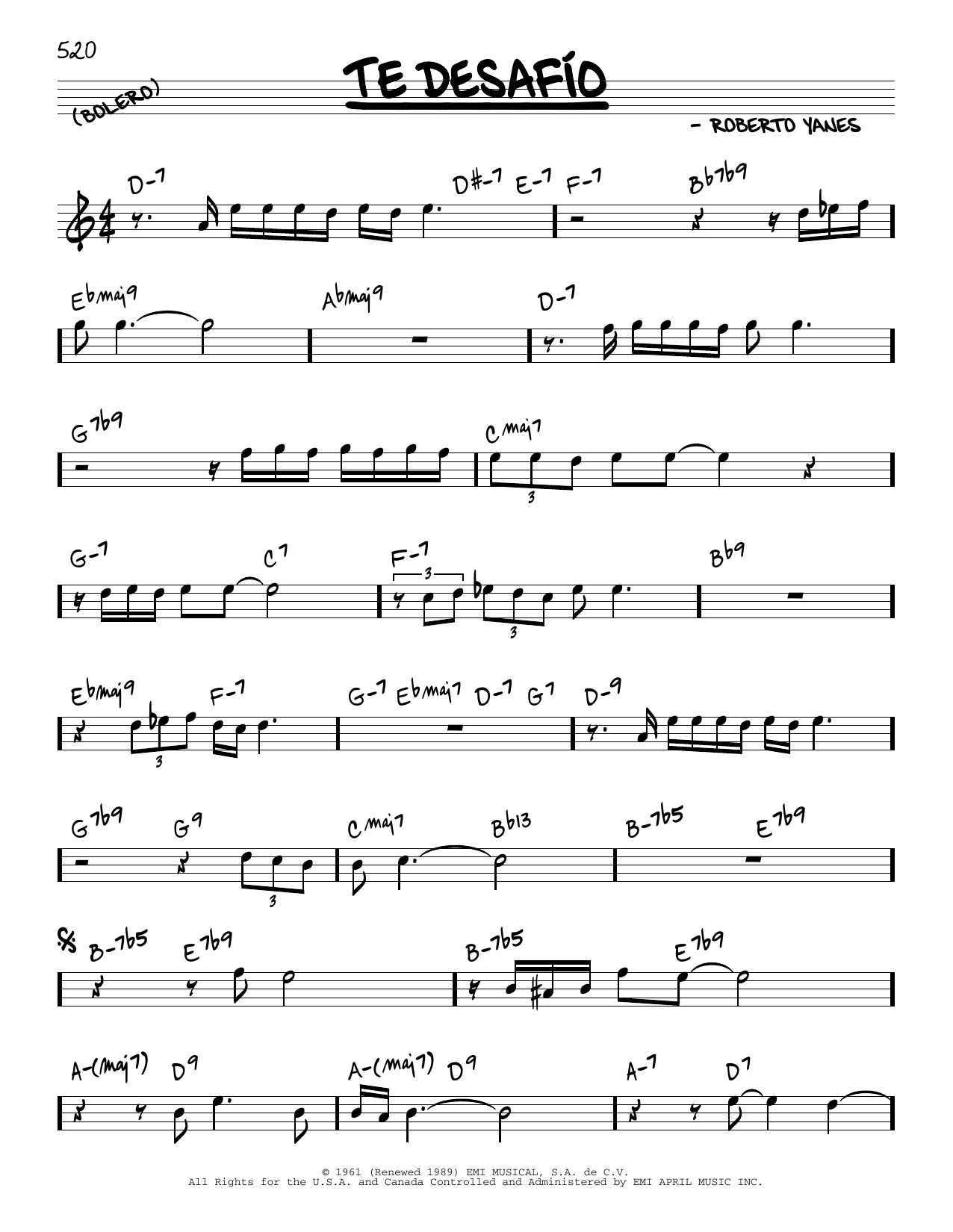 Tito Puente Te Desafio sheet music notes and chords. Download Printable PDF.