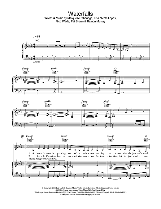 TLC Waterfalls sheet music notes and chords