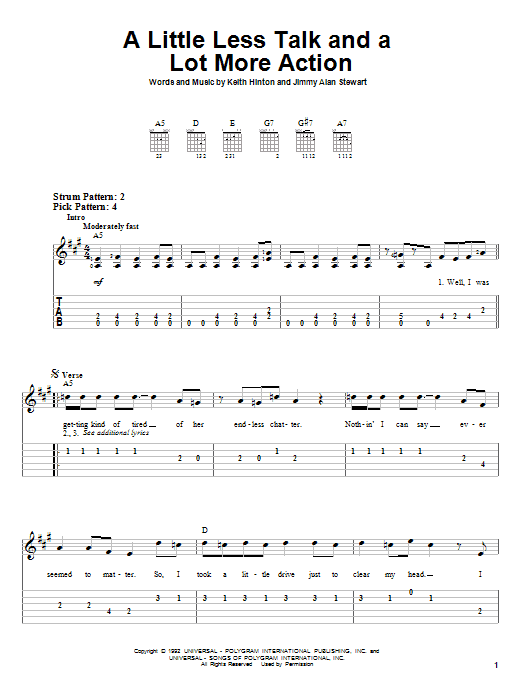Toby Keith A Little Less Talk And A Lot More Action sheet music notes and chords. Download Printable PDF.