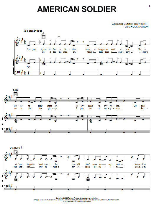 Toby Keith American Soldier sheet music notes and chords. Download Printable PDF.