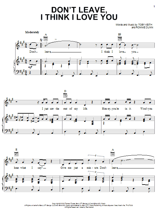 Toby Keith Don't Leave, I Think I Love You sheet music notes and chords