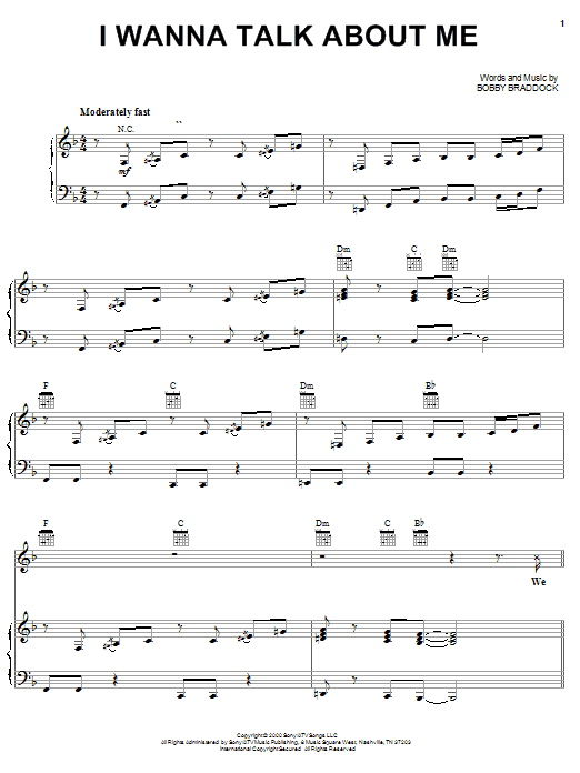 Toby Keith I Wanna Talk About Me sheet music notes and chords. Download Printable PDF.
