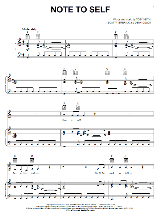 Toby Keith Note To Self sheet music notes and chords. Download Printable PDF.