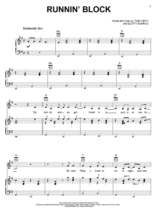 Toby Keith Runnin' Block sheet music notes and chords. Download Printable PDF.