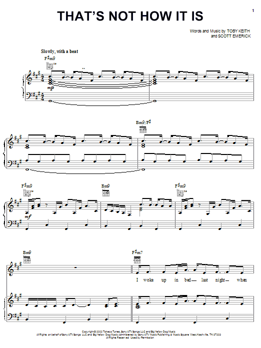 Toby Keith That's Not How It Is sheet music notes and chords. Download Printable PDF.