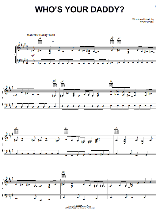 Toby Keith Who's Your Daddy? sheet music notes and chords