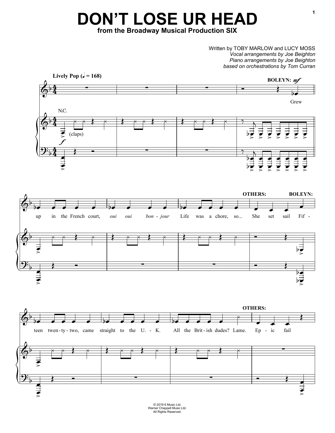 Toby Marlow & Lucy Moss Don't Lose Ur Head (from Six: The Musical) sheet music notes and chords. Download Printable PDF.