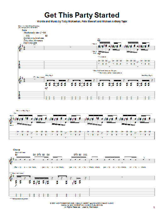 tobyMac Get This Party Started sheet music notes and chords. Download Printable PDF.