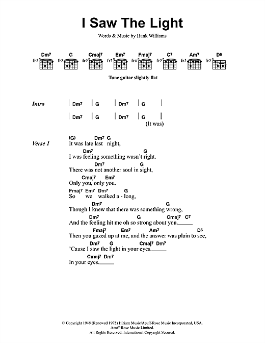 Todd Rundgren I Saw The Light sheet music notes and chords. Download Printable PDF.