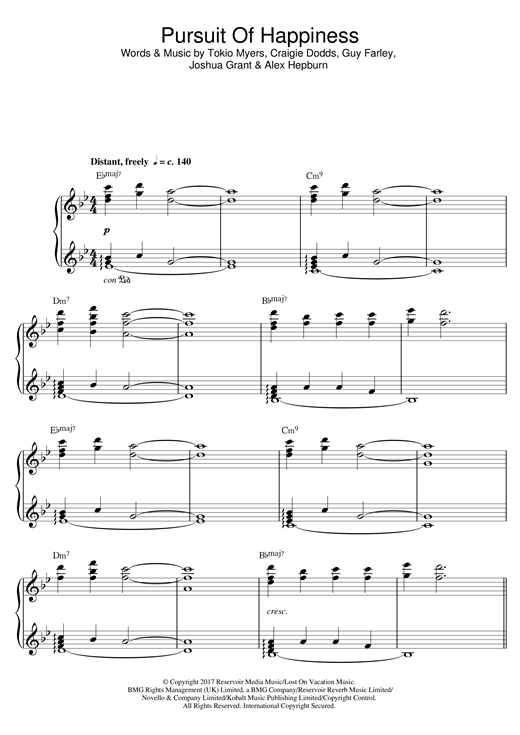 Tokio Myers Pursuit Of Happiness sheet music notes and chords. Download Printable PDF.
