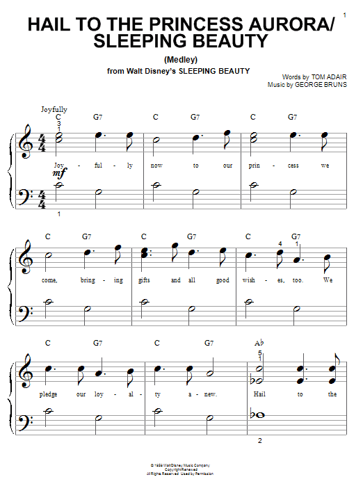 Tom Adair Hail To The Princess Aurora (from Sleeping Beauty) sheet music notes and chords