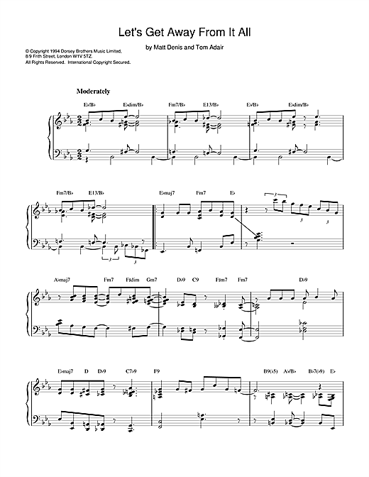 Tom Adair Let's Get Away From It All sheet music notes and chords