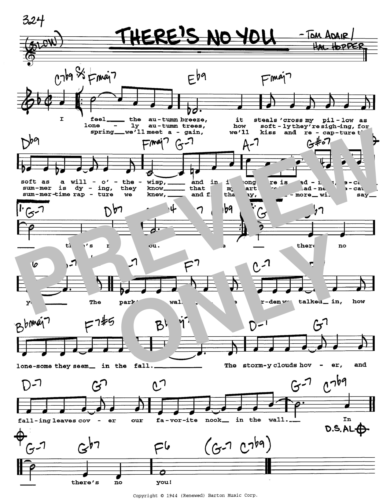 Tom Adair There's No You sheet music notes and chords. Download Printable PDF.