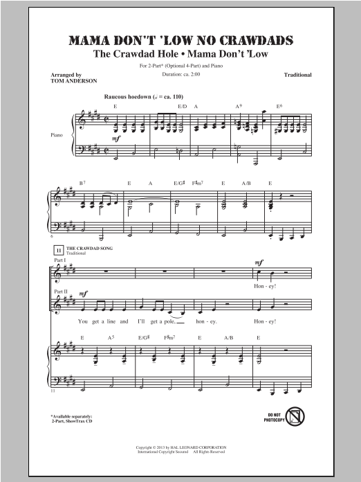 Traditional Mama Don't 'Low No Crawdads (arr. Tom Anderson) sheet music notes and chords. Download Printable PDF.