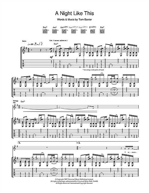 Tom Baxter A Night Like This sheet music notes and chords