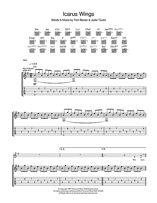 Tom Baxter Icarus Wings sheet music notes and chords