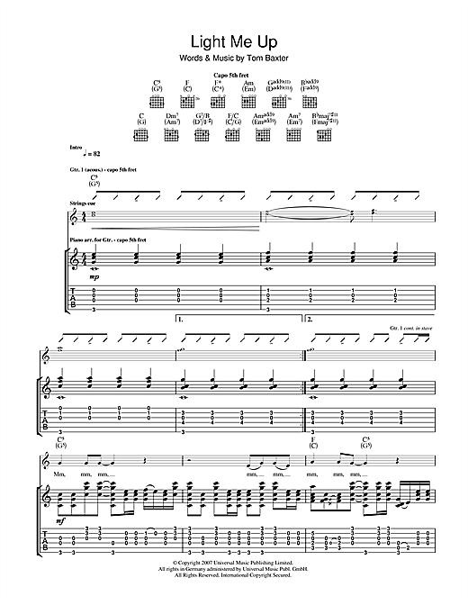 Tom Baxter Light Me Up sheet music notes and chords