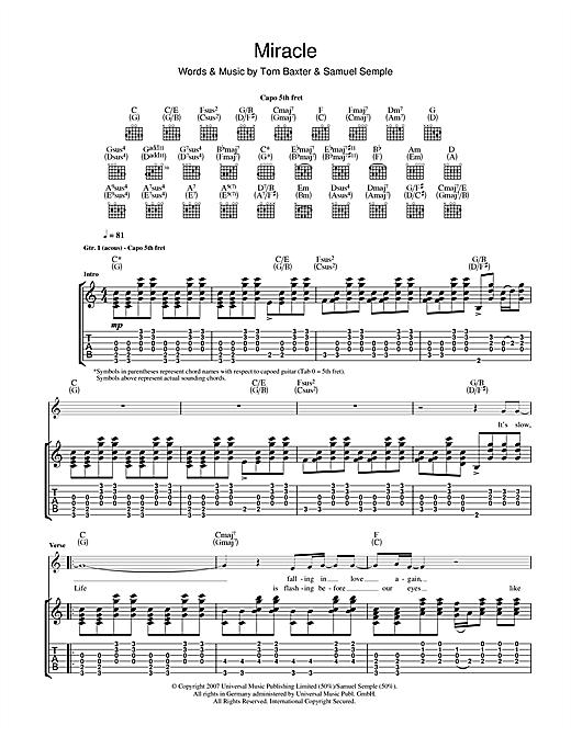 Tom Baxter Miracle sheet music notes and chords. Download Printable PDF.