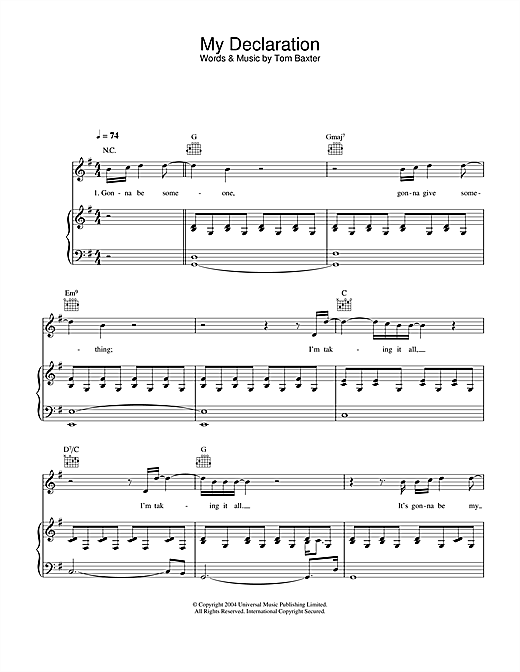 Tom Baxter My Declaration sheet music notes and chords. Download Printable PDF.