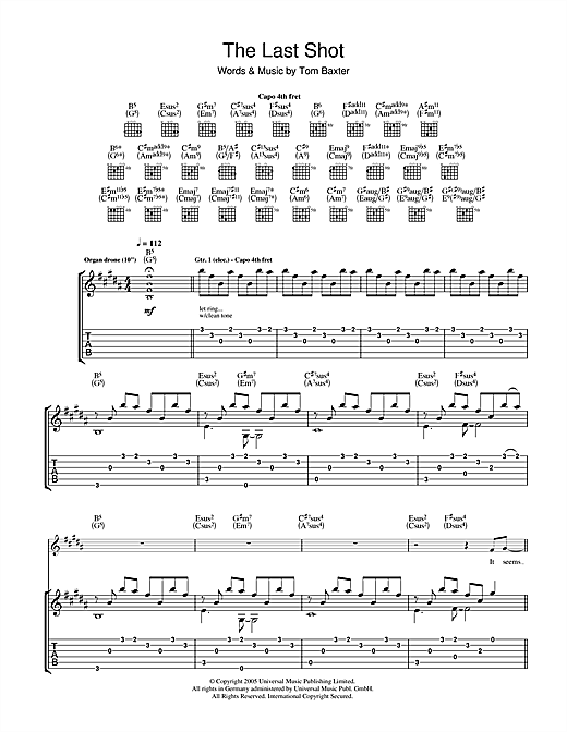 Tom Baxter The Last Shot sheet music notes and chords