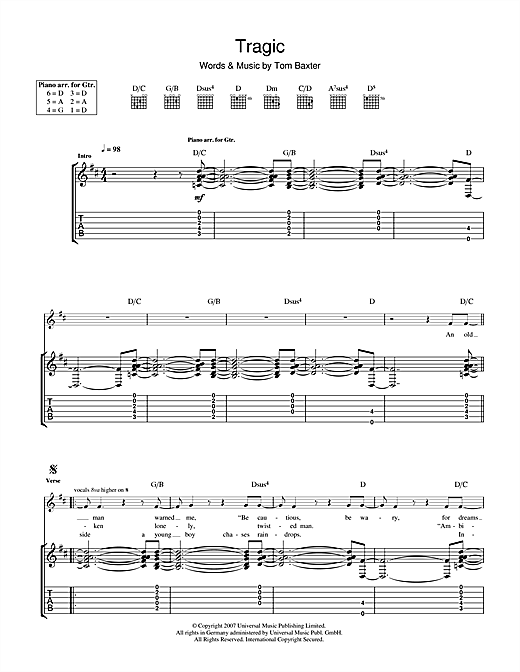 Tom Baxter Tragic sheet music notes and chords. Download Printable PDF.