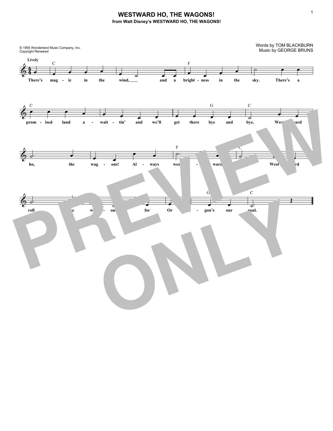 Tom Blackburn Westward Ho, The Wagons! sheet music notes and chords. Download Printable PDF.