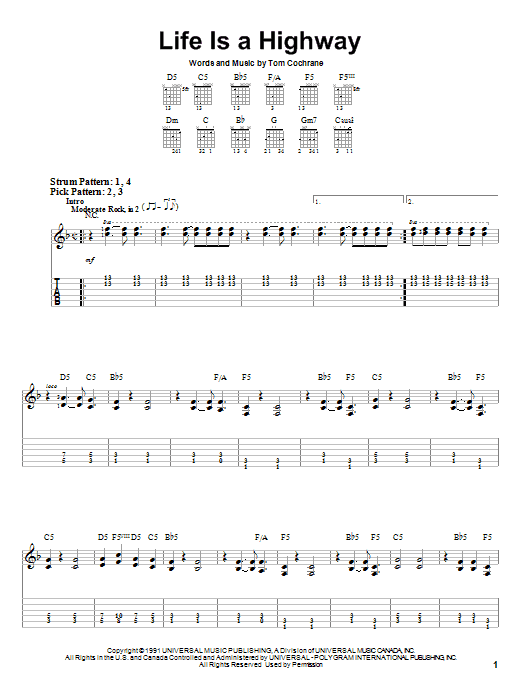 Tom Cochrane Life Is A Highway sheet music notes and chords. Download Printable PDF.