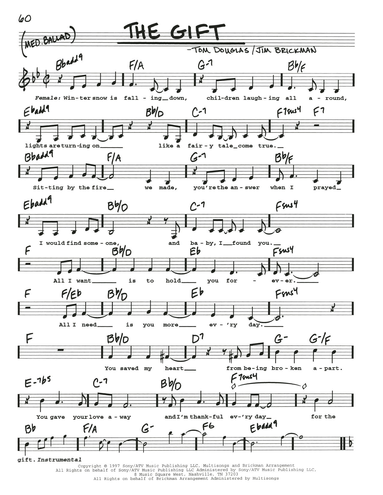 Tom Douglas The Gift sheet music notes and chords. Download Printable PDF.