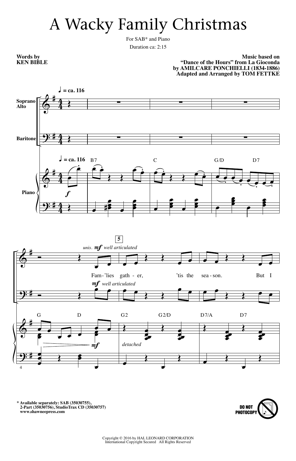 Tom Fettke A Wacky Family Christmas sheet music notes and chords. Download Printable PDF.