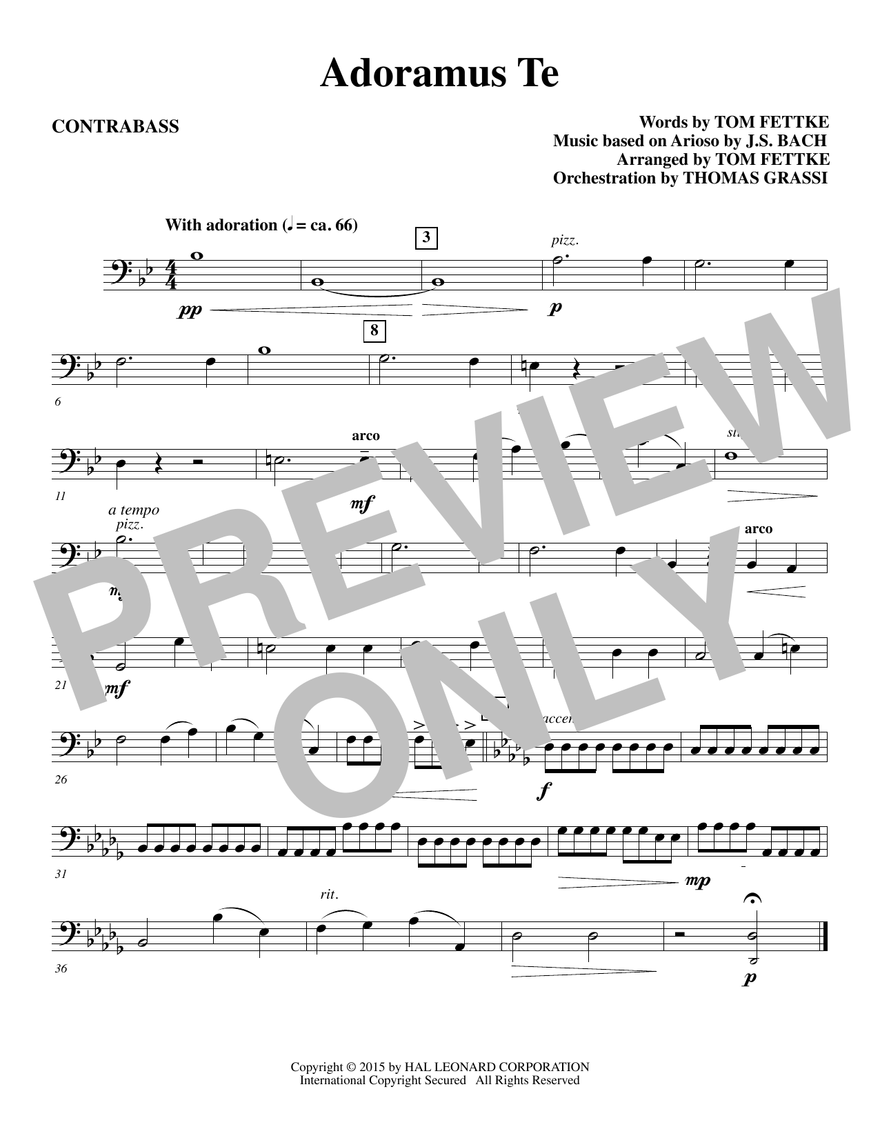 Tom Fettke Adoramus Te - Contrabass sheet music notes and chords. Download Printable PDF.