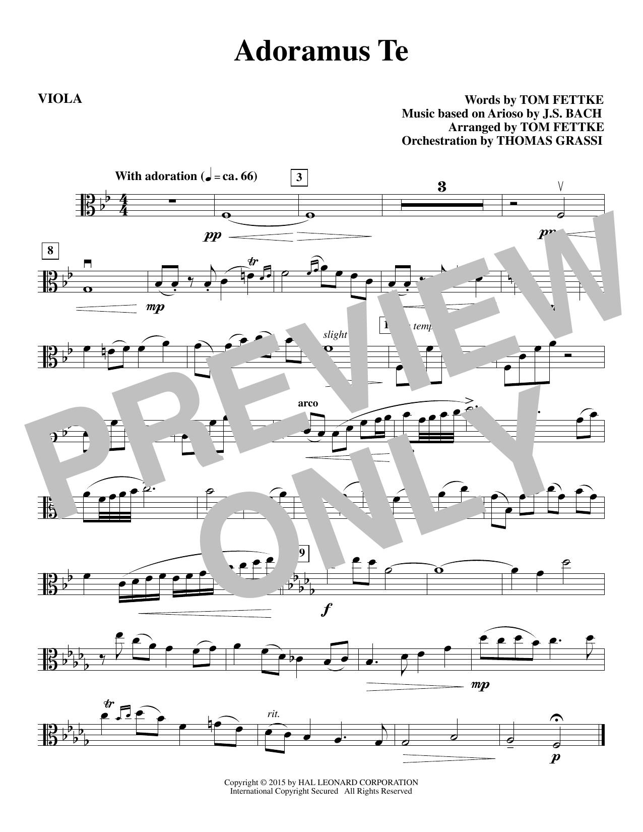 Tom Fettke Adoramus Te - Viola sheet music notes and chords. Download Printable PDF.