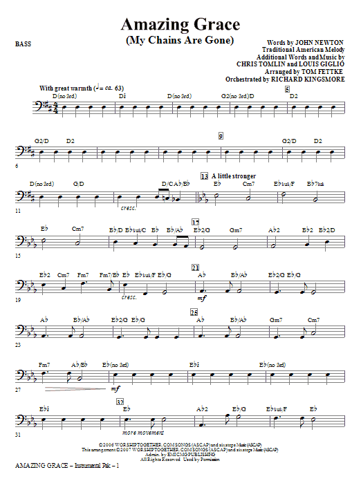Tom Fettke Amazing Grace (My Chains Are Gone) - Bass sheet music notes and chords. Download Printable PDF.
