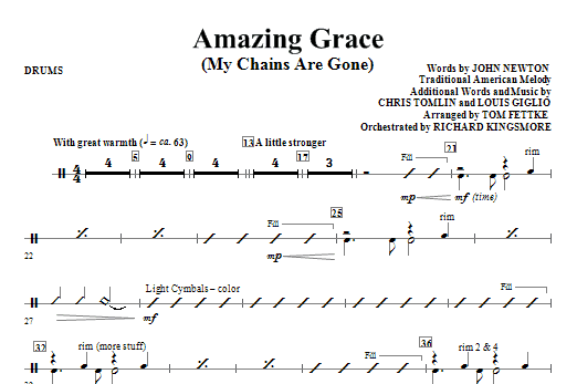 Tom Fettke Amazing Grace (My Chains Are Gone) - Drums sheet music notes and chords. Download Printable PDF.