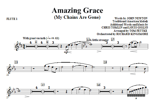 Tom Fettke Amazing Grace (My Chains Are Gone) - Flute 1 sheet music notes and chords. Download Printable PDF.