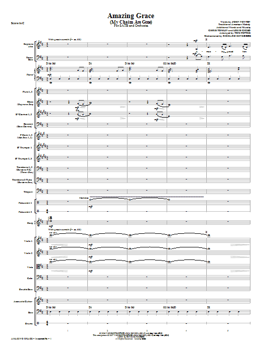 Tom Fettke Amazing Grace (My Chains Are Gone) - Full Score sheet music notes and chords. Download Printable PDF.